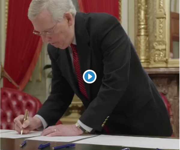 Watch: Sen. Mitch McConnell Uses Hemp Pen To Sign Farm Bill Legalizing The Crop