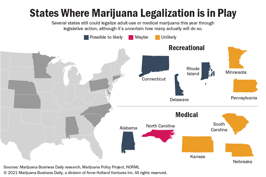 These states could still legalize recreational or medical cannabis in 2021